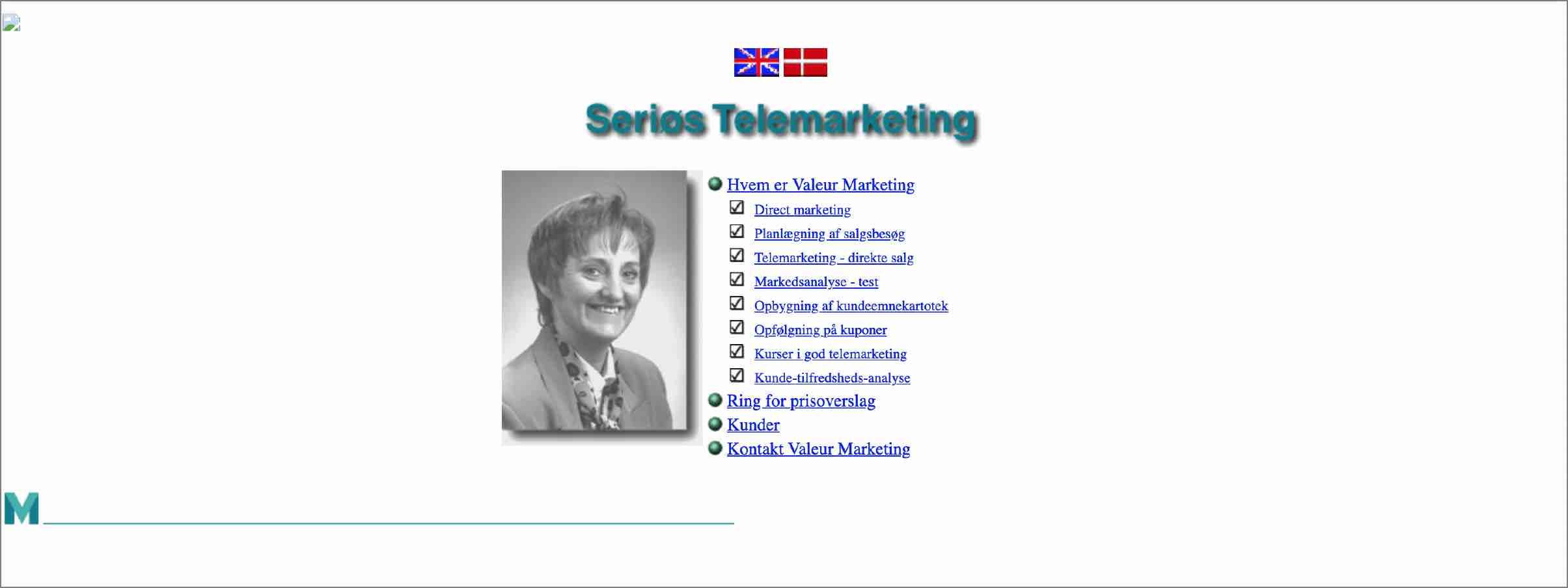 Valeurs hjemmeside fra 1998.
