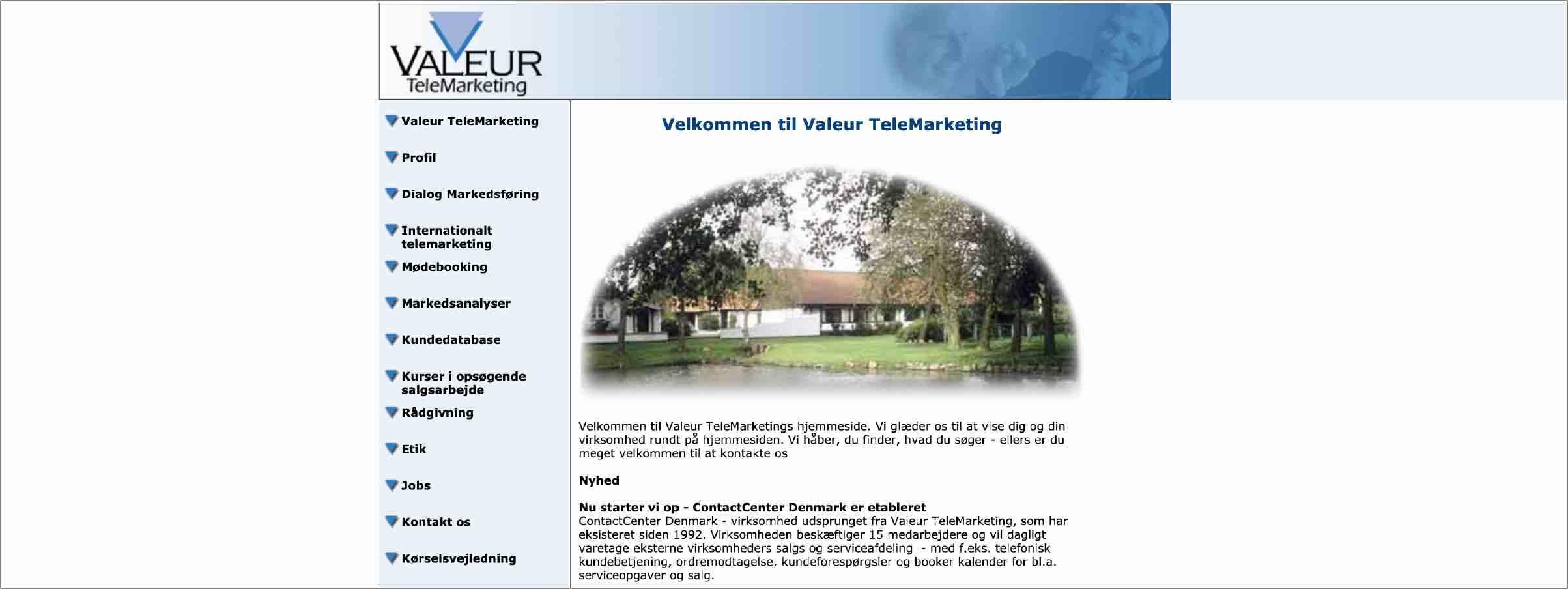 Valeurs hjemmeside fra 2003.