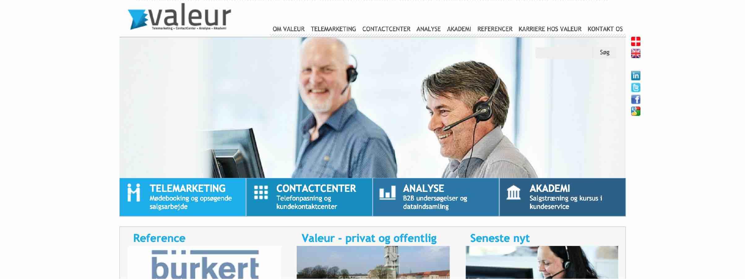 Valeurs hjemmeside fra 2011.